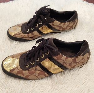 Coach Meagan Gold Snakeskin Signature Sneakers